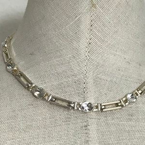 Jewelry - Silver Crystal Short Choker Necklace
